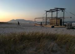 Alternating various backdrops on beach, Automation, Cape Town