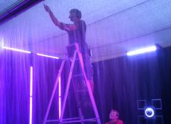 Micheal rigging up a rain wall. SFX rain and water effects