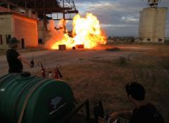 Controlled explosion for ITV commercials. SFX fire and explosives, Cape Town