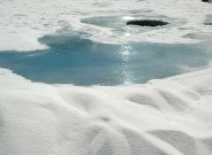 Snow on frozen lake with fishing hole, SFX snow and fabrication Cape Town