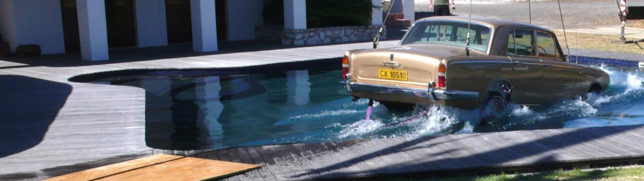 Mercedes crashes into pool rig, SFX rigs and water effects Cape Town