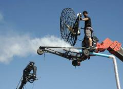 Micheal operating the Rotax wind machine and smoke machine.