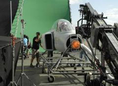 Michael operating a jet simulating rig. Special FX Cape Town