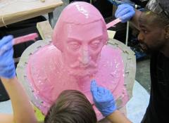 Portrait sculpture into silicone mould, Sculpture fabrication South Africa