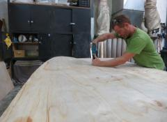 Pieter doing the woodwork of the large scale skateboard. Woodwork Cape Town