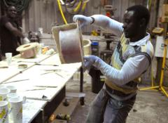 Franklin rotating a mould, Fabrication Cape Town
